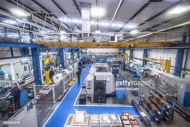 High angle view of steel engineering factory