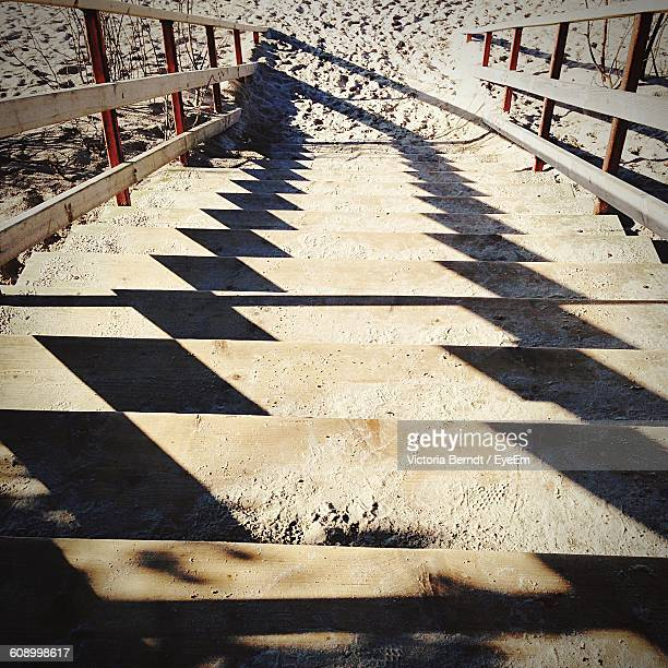 High Angle View Of Steps On Sunny Day