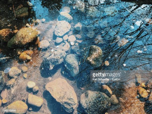 High Angle View Of Stones Seen Through Frozen Pond At Japanese Garden