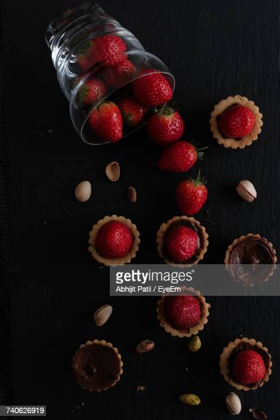 High Angle View Of Strawberry Tarts