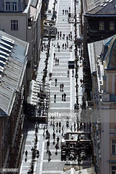 High angle view of street in Budapest, Hungary