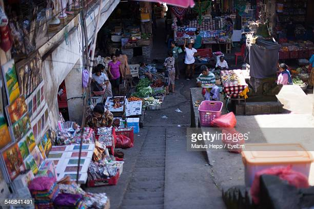 High Angle View Of Street Market