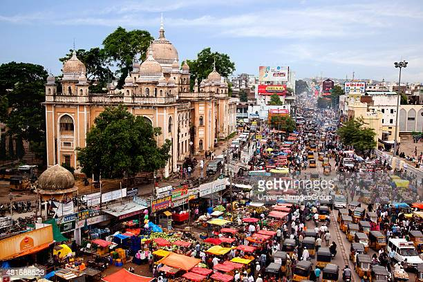High angle view of street packed with traffic Charminar Bazaar Hyderabad Andhra Pradesh India