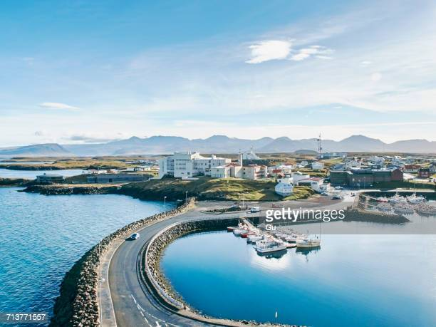 High angle view of Stykkisholmur harbour, Iceland