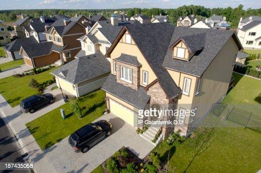 High angle view of suburban houses