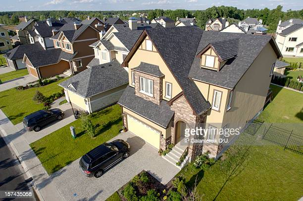 High angle view of suburban houses
