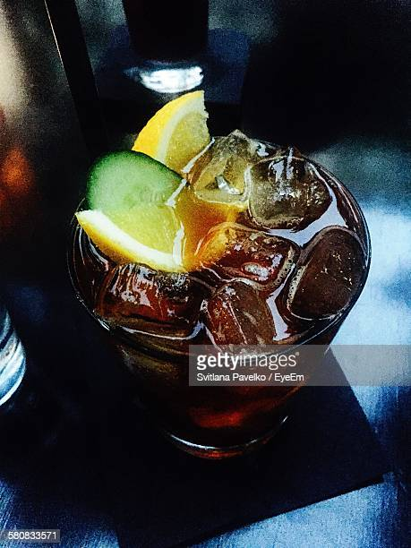 High Angle View Of Summer Cup In Cocktail On Table