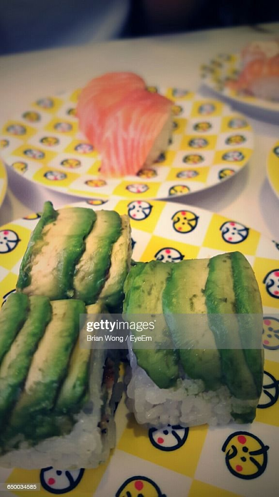 High Angle View Of Sushi With Salmon