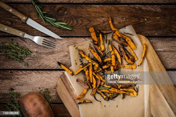High Angle View Of Sweet Potato Fries