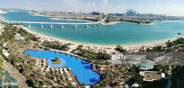 High Angle View Of Swimming Pool By Sea At Atlantis The Palm