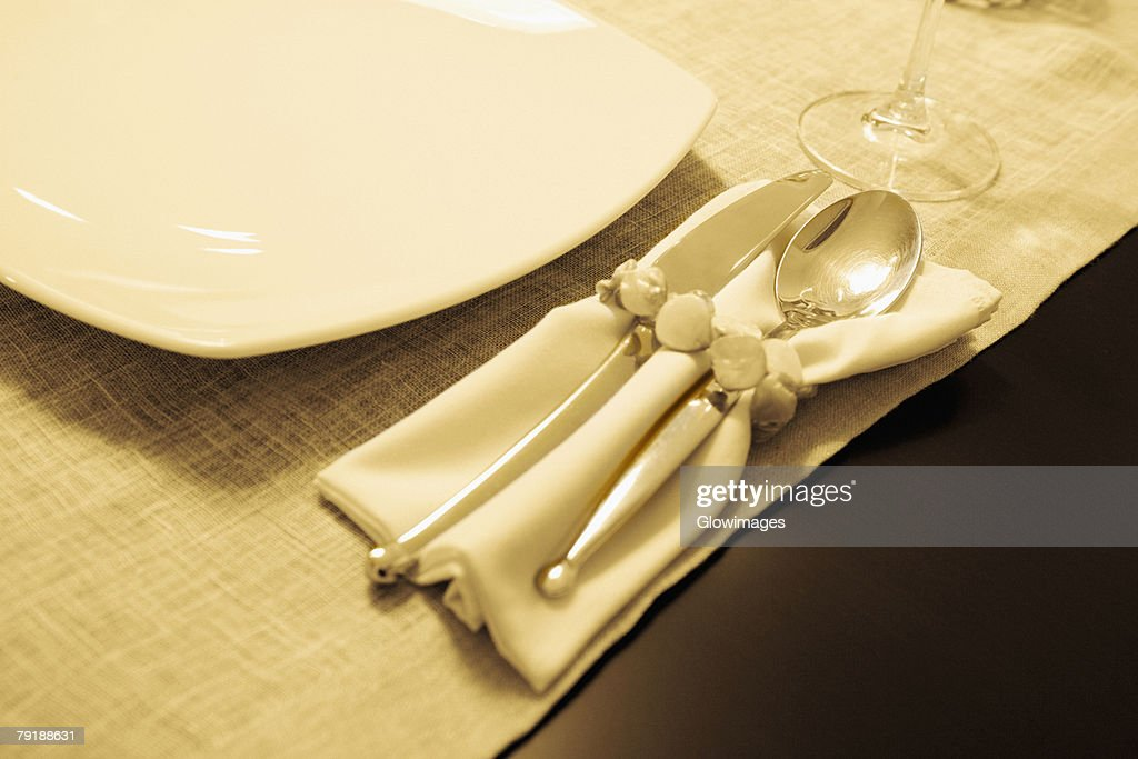 High angle view of tableware on a dining table : Foto de stock