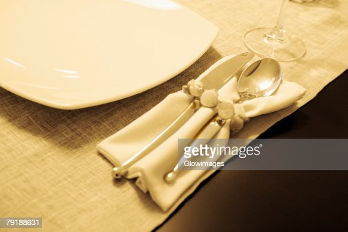 High angle view of tableware on a dining table : Stock Photo