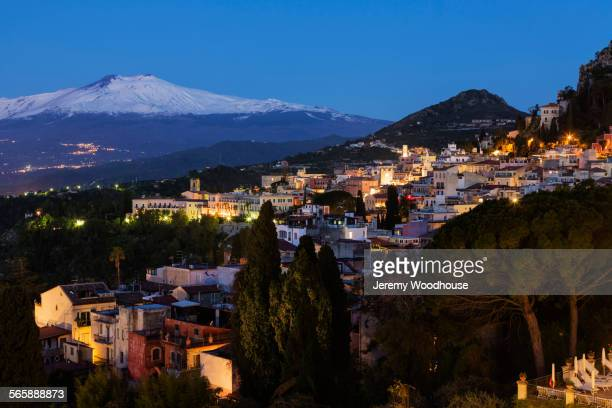 High angle view of Taormina cityscape on hillside, Messina, Sicily