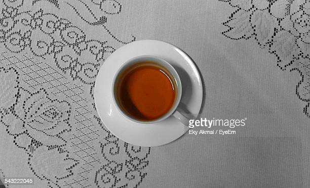 High Angle View Of Tea In Cup On Table