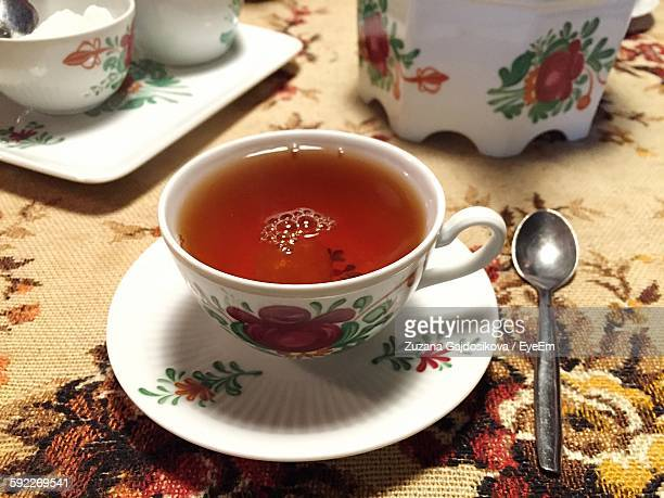 High Angle View Of Tea Served On Table