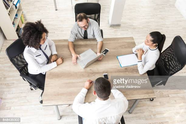 High angle view of team working in office