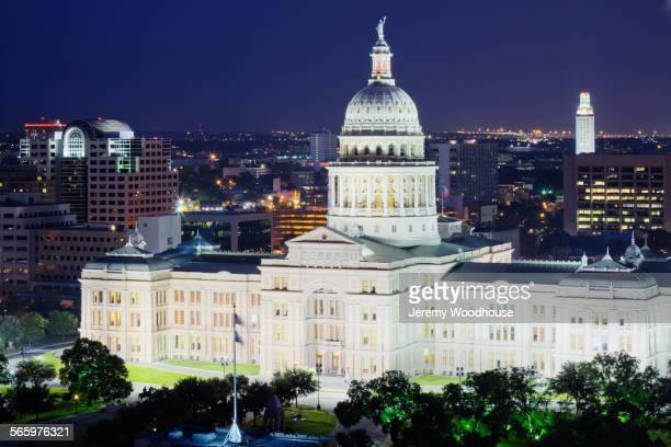 High angle view of Texas State Capitol illuminated at night, Austin, Texas, United States