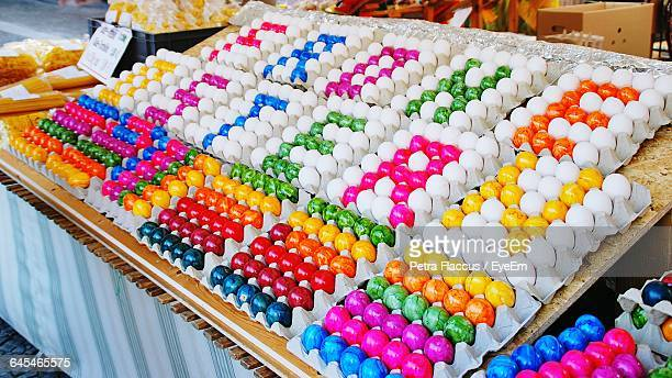 High Angle View Of Text Made Of Easter Eggs At Market Stall