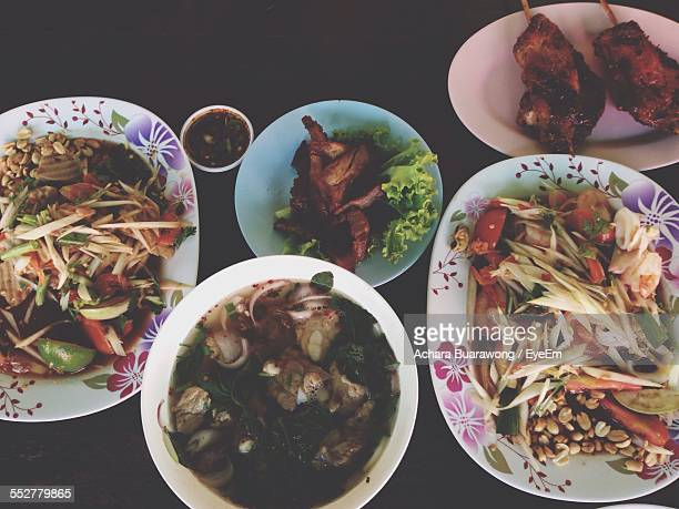 High Angle View Of Thai Meal Served On Table