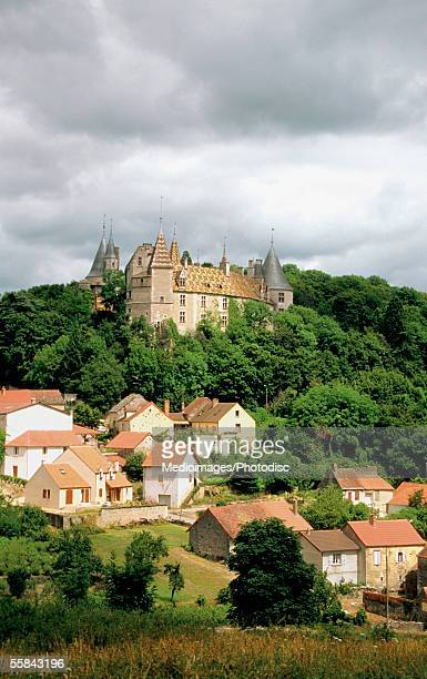 High angle view of the Chateau De La Rochepot Castle, Cote D'Or, Burgundy, Bourgogne, France