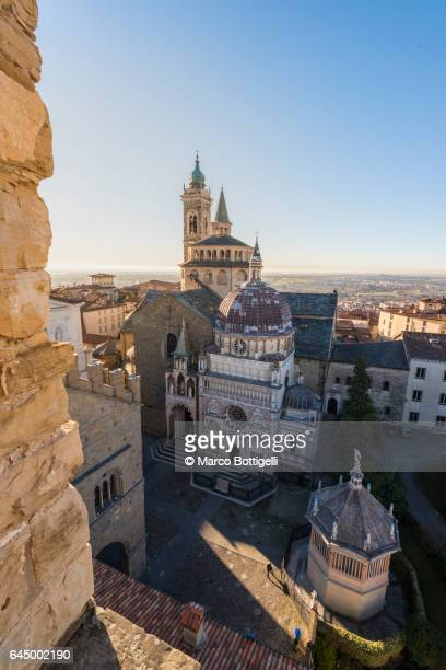 High angle view of the cityscape and St Mary Major (Santa Maria Maggiore) Basilica. Bergamo, Italy.