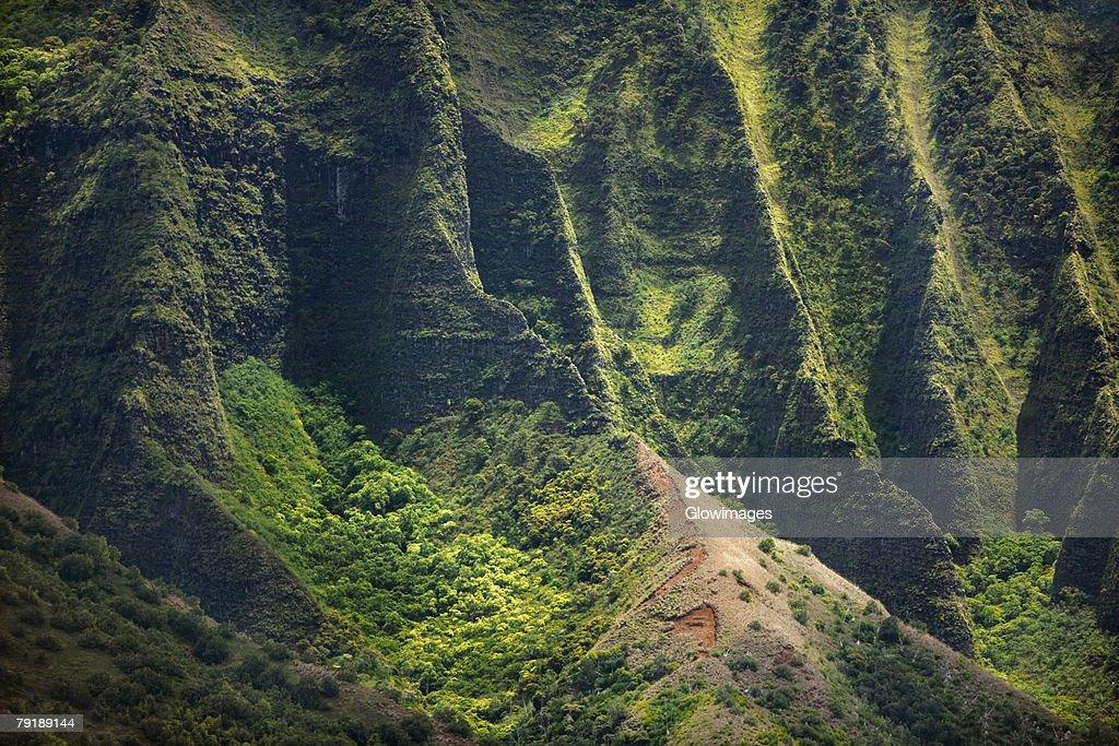 High angle view of the coast, Na Pali Coast, Kauai, Hawaii Islands, USA : Foto de stock