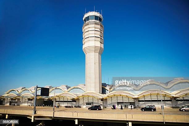 High angle view of the control tower and departures terminal at the Ronald Reagan Washington National Airport, Washington DC, USA