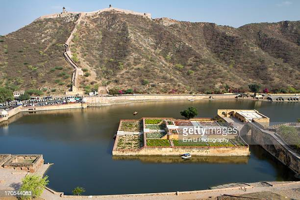 CONTENT] High angle view of the Dilaram Bagh gardens in Maota Lake at the Amber Fort in Jaipur Rajasthan India