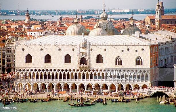 High angle view of the Doges Palace, San Marco Square, Venice, Italy