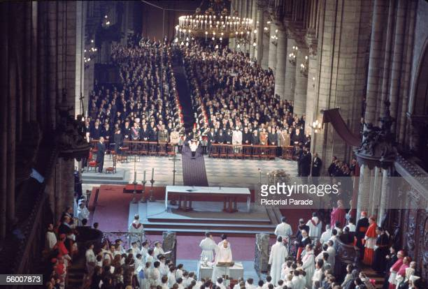 High angle view of the memorial service for late former French President General Charles de Gaulle in Notre Dame Cathedral Paris France November 12...