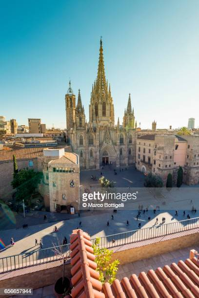 High angle view of the Old Cathedral. Barcelona, Spain.