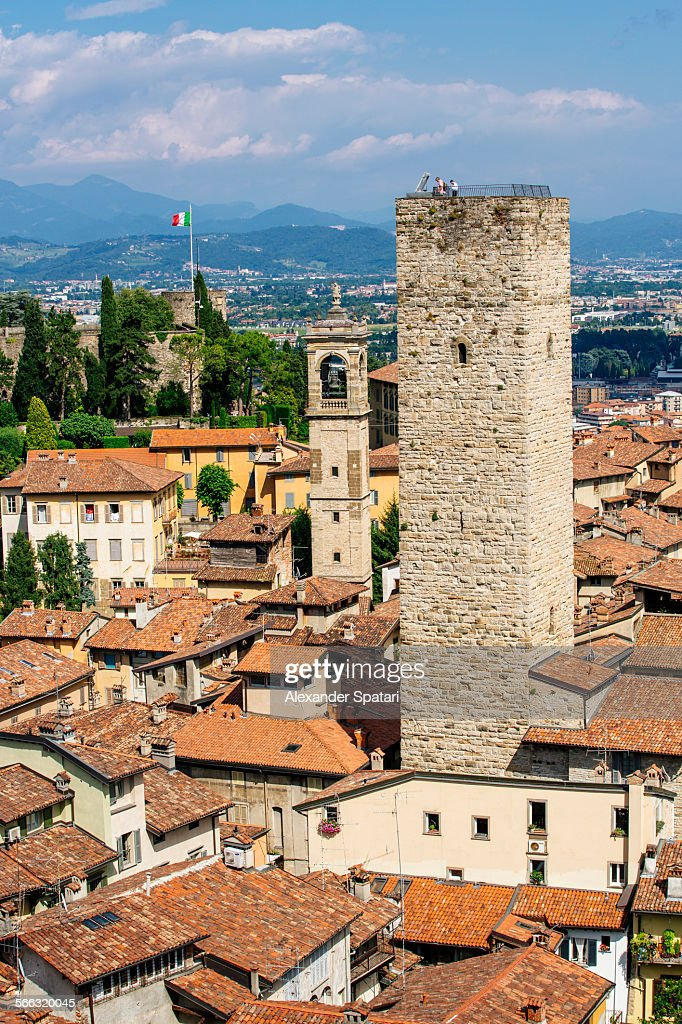 High angle view of the old tower in Bergamo, Italy