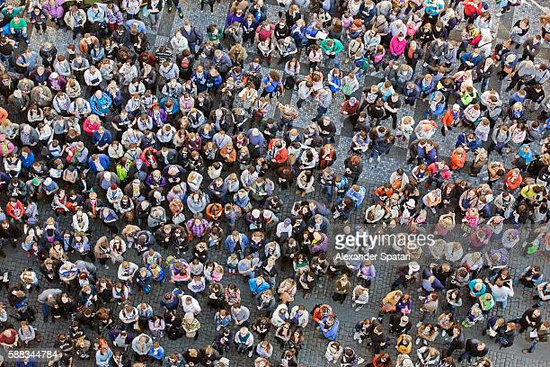 High angle view of the people crowd gathered on the street
