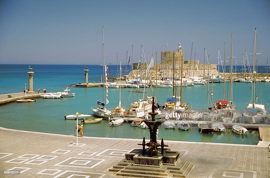 High angle view of the Saint Nicolas Fortress and Harbor, Rhodes, Greece