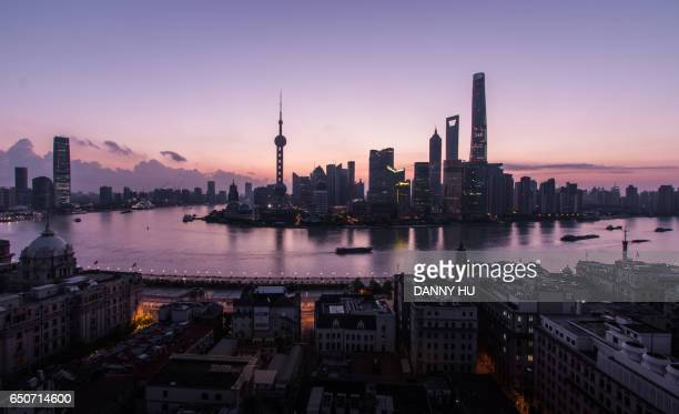 high angle view of the Shanghai bund and lujiazui district at dawn