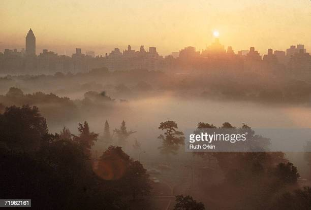 High angle view of the skyline of Manhattan at sunrise as mist rolls over the treetops of Central Park New York New York 1978 The photograph entitled...