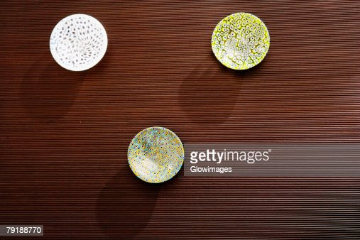 High angle view of three ceramic bowls on a table : Foto de stock