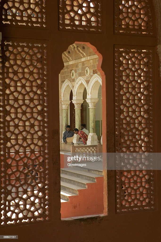 High angle view of three people inside a museum, Government Central Museum, Jaipur, Rajasthan, India