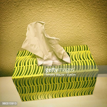High Angle View Of Tissue Box Against Wall