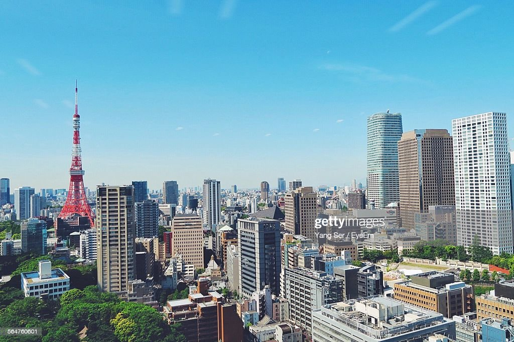 High Angle View Of Tokyo Tower Against Blue Sky