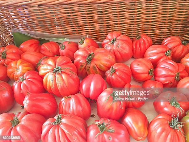 High Angle View Of Tomatoes For Sale At Market Stall