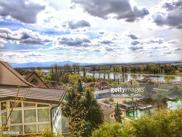 High Angle View Of Tourist Resort Against Cloudy Sky