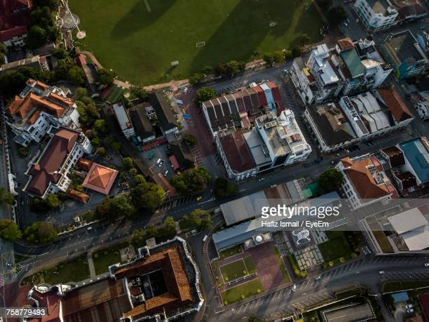 High Angle View Of Town In City