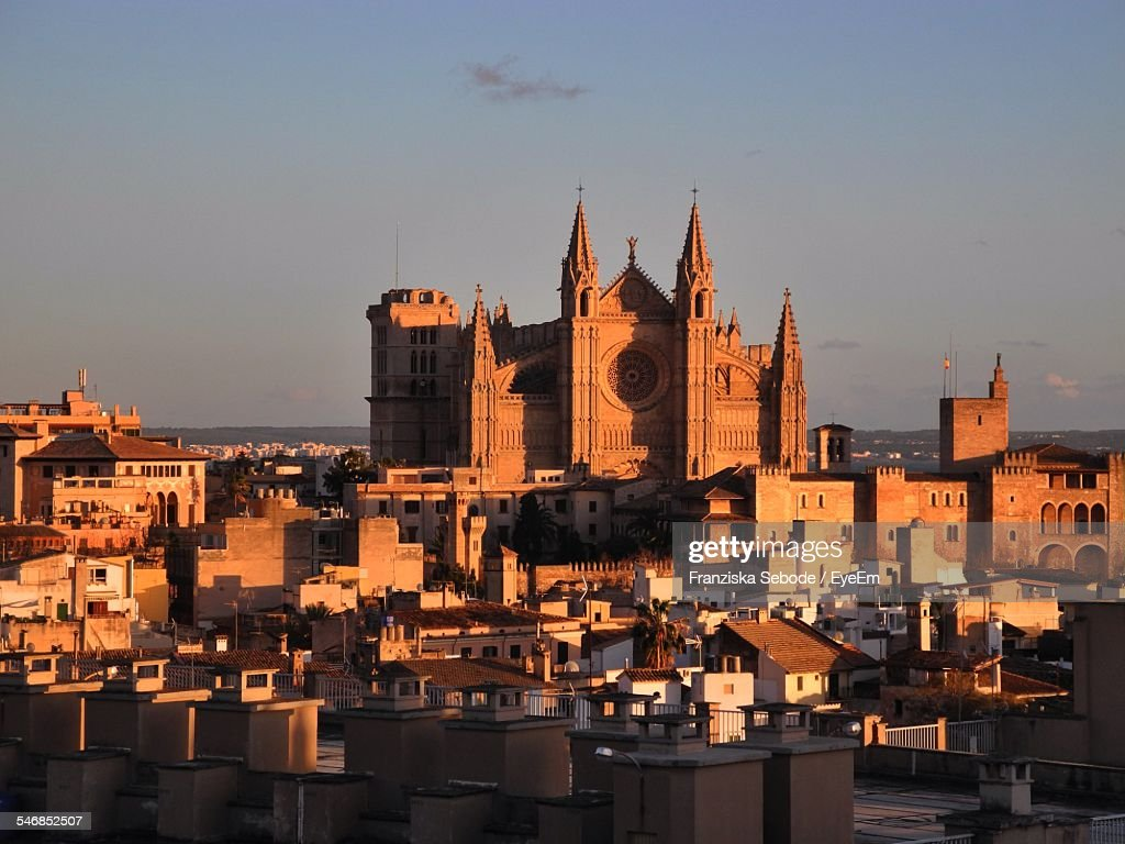 High Angle View Of Townscape And Palma Cathedral