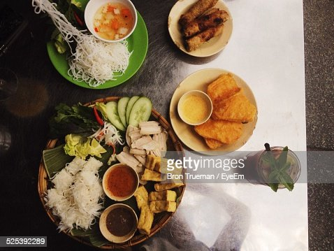High Angle View of Traditional Food Served On Table