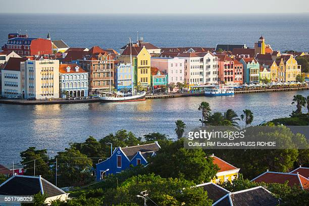 High angle view of traditional multi colored town houses on waterfront, Punda, Willemstad, Curacao, Caribbean