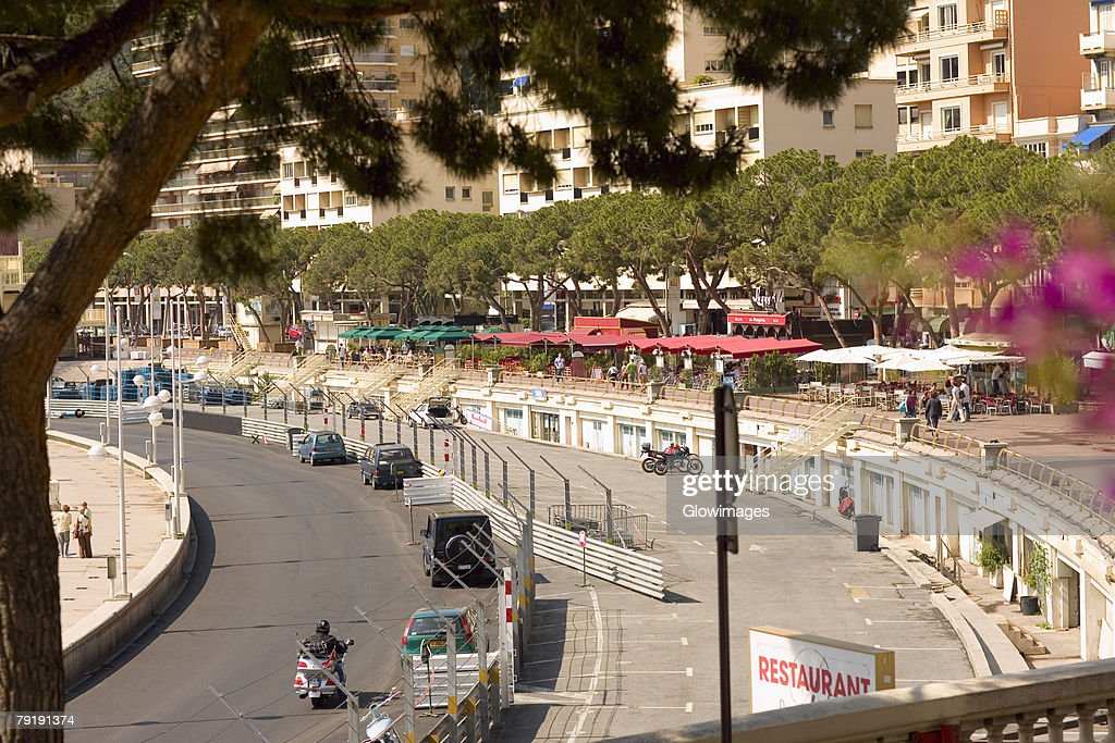 High angle view of traffic on a road, Monte Carlo, Monaco : Foto de stock
