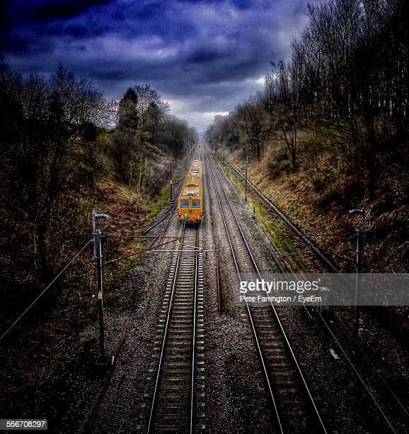 High Angle View Of Train Moving On Track