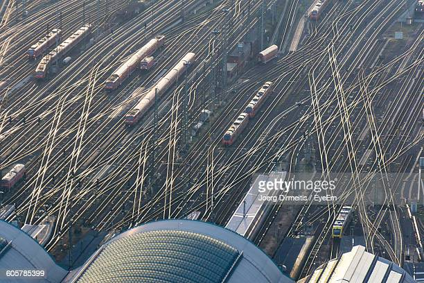 High Angle View Of Trains On Railroad Tracks At Berlin Hauptbahnhof