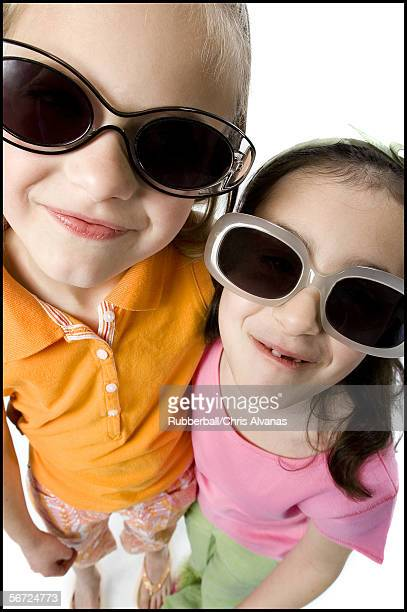High angle view of two girls wearing sunglasses